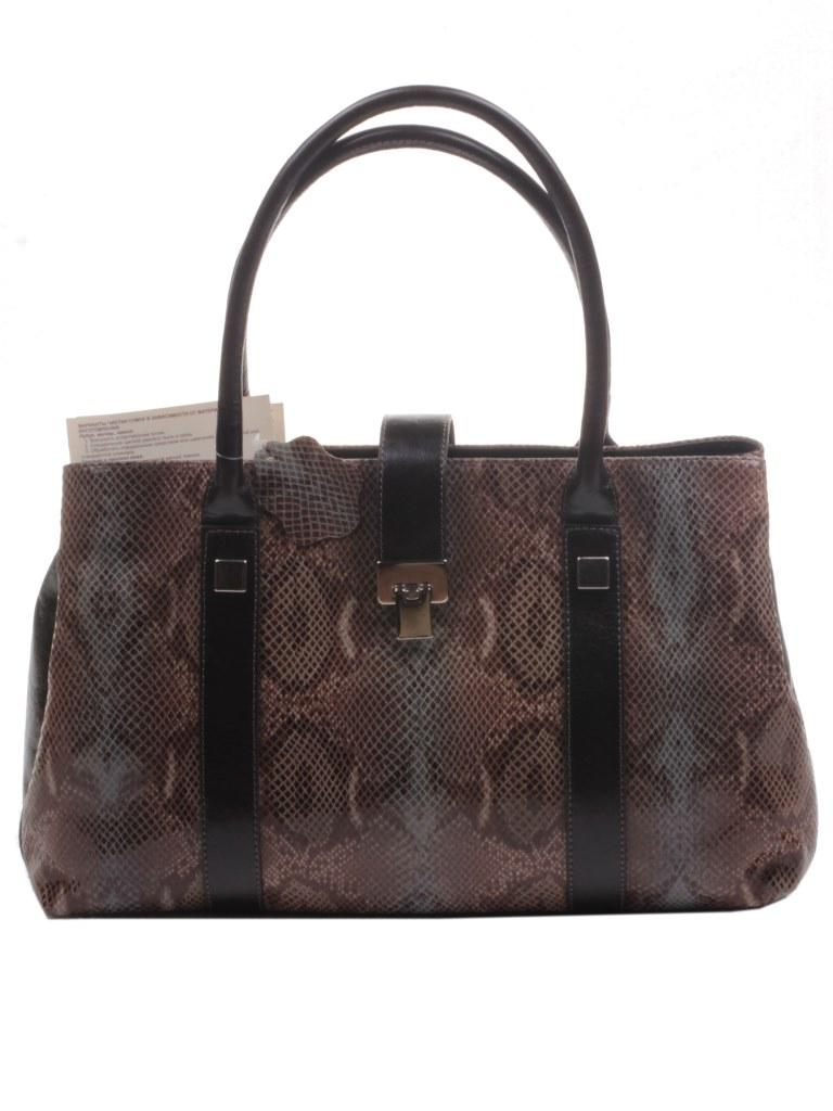 Сумка женская Mattioli кожаная коричневая по рептилию купить в интернет-магазине Шарпей.