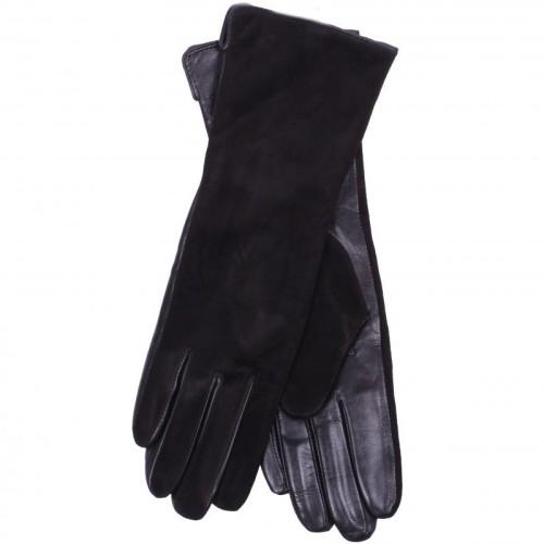 Перчатки женские Pitas 0022Z комби.удлин. Перчатки женские Pitas 0022Z комби.удлин. выполнены из мягкой натуральной кожи черного цвета, верхняя сторона перчаток выполнена из замши. Материал подкладки – шерсть.